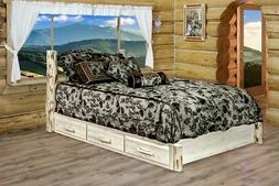 Amish LOG Storage Platform Bed with Drawers Queen Size Rusti