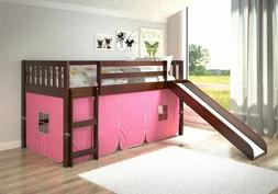 Low Bunk Beds with Slide & Tent Underneath - Cappuccino Fini