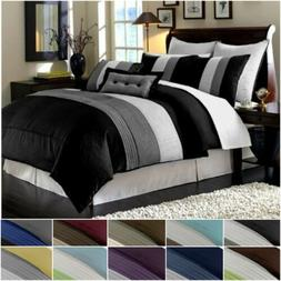 Chezmoi Collection Luxury Striped Pleated Comforter Bedding