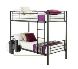 Metal Twin over Twin Bunk Beds Frame Ladder for Kids Adult W