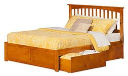 Atlantic Furniture Mission Queen Platform Bed with Flat Pane