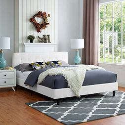 Modway MOD-5426-WHI Linnea Fabric Bed, Queen, White