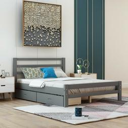 Modern Gray Wood Platform Bed With Headboard and Two Drawers