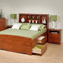 Prepac Monterey Cherry Tall Queen Wood Platform Storage Bed