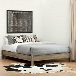 Munich Platform Bed on Legs-Full-Weathered Oak-South Shore
