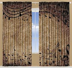 Ambesonne Musical Decor Curtains, Music Notes Chopin Sheet f