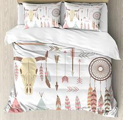 Native American Duvet Cover Set by Ambesonne, Tribal Indian