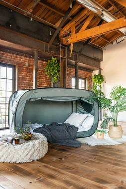 New Privacy Pop Bed Tent in Gray for Twin Bed