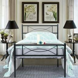 NEW Metal Bed Frame Mattress Foundation with Headboard and F