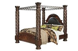 North Shore E King Poster Canopy Bed - Ashley in Dark Brown