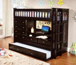 Discovery World Furniture All in One Loft Bed, Twin, Espress