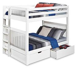 Full Over Full Bunk Bed with Drawers in White Finish