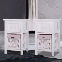 Pair of White Chic Nightstand End Side Bedside Table w/Wicke