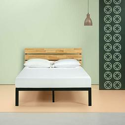 Zinus Paul Metal and Wood Platform Bed with Slat Support, Fu