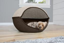 FurHaven Pet Felt Cubby - Two-Color Round Dog or Cat Bed