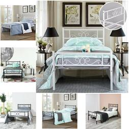Platform Bed Frame Queen Twin Full Size Metal Bed Mattress F