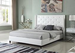 Home Life Premiere Classics Leather White Tufted with Nails
