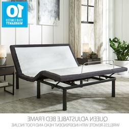 Queen Adjustable Bed Base Frame with wireless remote and whi