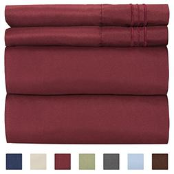 Twin Size Sheet Set - 4 Piece Set - Hotel Luxury Bed Sheets
