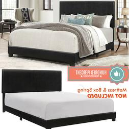Queen Size Bed Frame Platform With Headboard Erin Black Faux