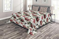 Ambesonne Shabby Chic Coverlet Set King Size, Floral Flower