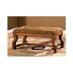 Solid Oak Vanity Bench End Of Bed Accent Ottoman Seat Antiqu