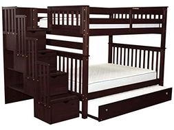 Bedz King Stairway Bunk Beds Full over Full with 4 Drawers i