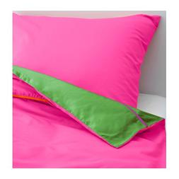 Ikea Stickat Duvet Cover and Pillowcase, Pink, Green