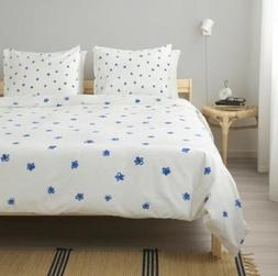 IKEA Tankvard Full/Queen Duvet Cover & Pillowcases White/Blu