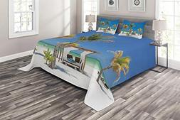 Ambesonne Tropical Coverlet Set King Size, Beach Beds Among