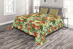 Ambesonne Tropical Coverlet Set King Size, Exotic Pattern wi