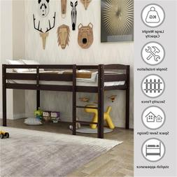 Twin Bed Wooden Loft Bed Low Loft Beds for Kids With Ladder