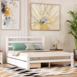 Twin/Full Size platform bed with two drawers Storage Bed Woo