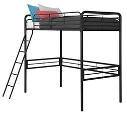 Twin Loft Bed with Built-In Ladder, Black