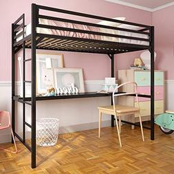 DHP 4307029 Miles Twin Metal Loft Bed with Desk, Space-Savin