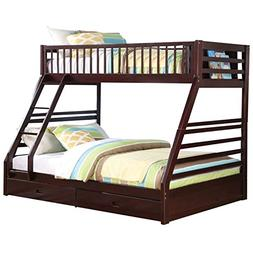 Pemberly Row Twin XL Over Queen Bunk Bed in Espresso