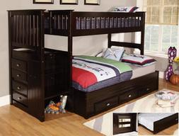 Discovery World Furniture Twin Over Full Stair Stepper Bed w