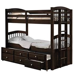 Pemberly Row Twin Over Twin Storage Bunk Bed with Trundle in