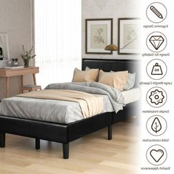 Twin/Queen/King Size Bed Frame Leather Upholstered Headboard