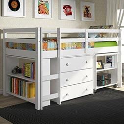 Twin Low Study Loft Bed with Desk in White