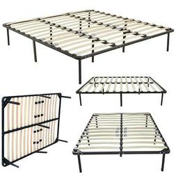 Twin to King Size Wood Slats Iron Bed Frame Platform Bedroom