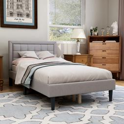 """Upholstered Button Platform Bed with 40"""" Tall Headboard Dura"""