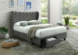 Upholstered Cloth Platform Bed With Headboard And ** 2 Under