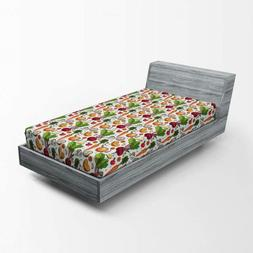 vegetables fitted sheet continuous pattern of sketchy