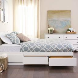 White 6 Drawer Storage Platform Full Size Bed Home Living Be