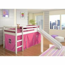 White Junior Loft Bed with Slide Pink Tent Twin Size Wooden