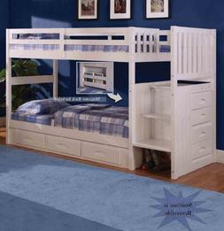 Discovery World Furniture White Staircase Bunk Bed Twin/Twin
