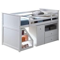 ACME Wyatt Loft Bed with Chest and Swivel Desk in White