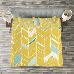 Yellow Chevron Quilted Bedspread & Pillow Shams Set, Herring